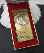 Vintage Swiss Foska Gold Plated butane gas lighter with watch clock in box