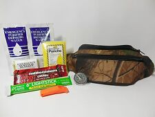 1 DAY EMERGENCY SURVIVAL KIT CAMPING HIKING HUNTING FISHING with CAMO Fanny Pack