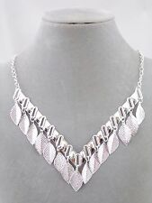 Silver V With Leaf Dangles Necklace Fashion Jewelry NEW Pretty