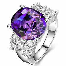 5.2ct Silver Filled Natural Tanzanite Size 9 Engagement Birthstone Ring 270