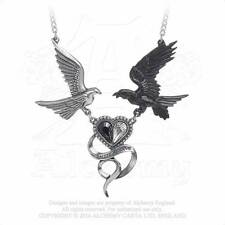 Alchemy Gothic Pewter Epiphany Of St. Corvus Raven Dove Heart Pendant Necklace
