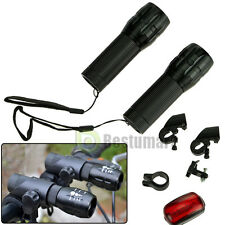 2x Bike Bicycle XML Q5 LED Zoomable Front Flashlight Torch Lamp +Rear Light Set