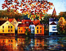 "Autumn City - Where I Grew —  Oil Painting On Canvas By Leonid Afremov. 30""x40"""