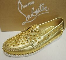 Christian Louboutin Yacht Spikes Metallic Leather Loafers Boat Flat Shoes 38.5