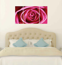 Pink rose flower print on canvas, flower canvas designs, 3 panel flower wall art