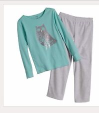 "Carter's Sparkle ""Up Owl Night"" Shirt Pant Pajama Pj Set Girls Clothes Size 4/4t"