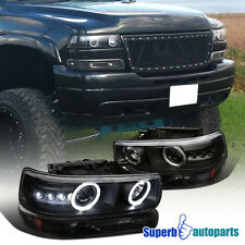 1999-2002 Chevy Silverado Dual Halo LED Headlights+Bumper Lamps Black Tahoe