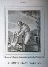 S. Eutichiano Papa M. 24 dicembre 1840 Incisioni Santino Acquaforte Stampa Banzo