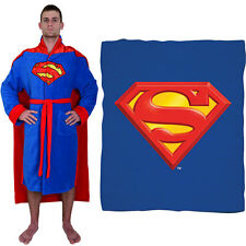 NEW (Set) DC Comics Superman Shield Fleece Throw Blanket And Belted Bath Robe