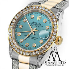 Women's 31mm Rolex Oyster Perpetual Datejust Ice Blue Color Diamond Dial Accent