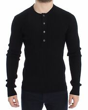 NWT $700 DOLCE & GABBANA Black Wool Henley Button Sweater Pullover Top IT52 / L