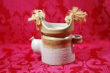 Made for HIMARK in Italy Ceramic Tea Pot Kettle Plant Potter Beige Twine Handle