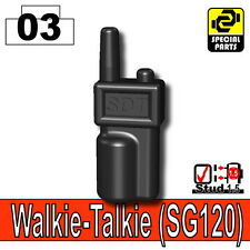 Black Walkie Talkie (W267) Tactical army police radio fits Toy Brick Minifigures