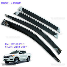 Chrome 4Dr Window Vent Visor Weather Guard For Mazda Bt-50 Pro Truck 2012-2016
