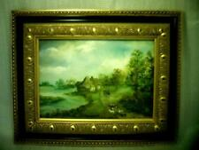 Fine ANTIQUE original HUNGARIAN - HUNGARY OIL PAINTING (RIVER with FARM SCENE )