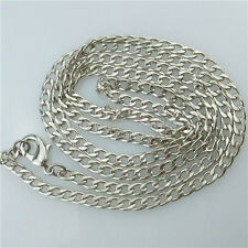 13639 5PCS 24 Inch Dull Silver Plated Flat Curb 3mm Link Chain Necklace Making