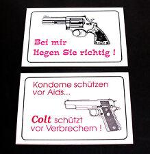 Aufkleber + Bei mir liegen Sie + Kondome schützen Colt schützt vor Verbrechern