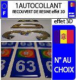 1 sticker plaque immatriculation auto 3D RESINE DRAPEAU ANDORRE N° AU CHOIX