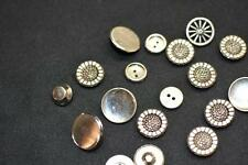 Lot Vintage Silver Tone Sewing Craft BUTTONS Mirror Back Deocrative