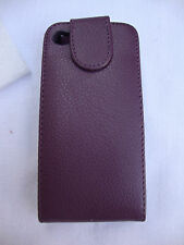 Purple Oker Phone Leather Black Plastic Magnetic Flap Closure Iphone 4 4S Case