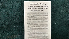 LIONEL # 2343 and 2344 DIESEL LOCOMOTIVES   INSTRUCTIONS PHOTOCOPY