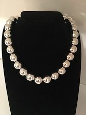 Vintage Italy sterling silver graduated ball bead necklace!!!