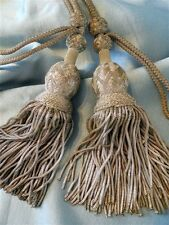 2  LARGES  ANTIQUE FRENCH SILVER  METALLIC  TASSELS 19TH-CENTURY