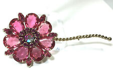 Vintage JULIANA Huge Giant Pink Rhinestone AB Flower Petal Brooch Gold jj46zs