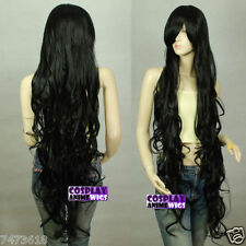 Seamlessly Contours 120cm Black Extra Long Curly Cosplay Wigs Hair Synthetic Wig