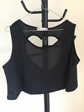Women Crop Top Black Cut Out Heart Shape At The Back Size XL (07)