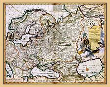 MAP ANTIQUE 1681 VISSCHER RUSSIA BLACK CASPIAN SEA REPLICA POSTER PRINT PAM0171