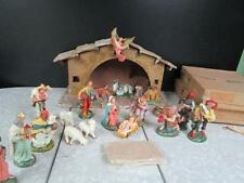 VINTAGE PAPER MACHE CHRISTMAS NATIVITY SET, PATINATO CRIBSET ITALY ORIG BOXES