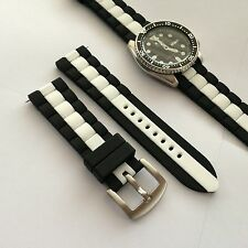 22mm Replacement Black White Silicone Rubber DIVER s Watch Band Strap fit Seiko