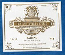 SAUTERNES 1ER GCC VIEILLE ETIQUETTE CHATEAU COUTET A BARSAC 1982 RARE    §19/05§