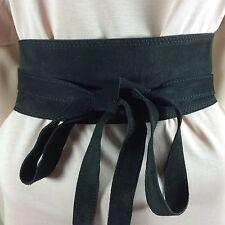 Damen Gürtel Größe S M L 36 38 40Schwarz Breit Leder Velour Taille Glamour Style