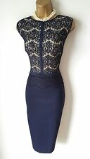 Phase Eight Dress 14 BNWT Ivy Navy Blue Lace Stretch Wiggle Party Christmas