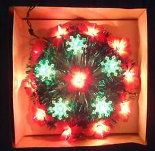 Vtg Light up Poinsettia Wreath Christmas Tree Top Topper 16 Lights NEW Flash