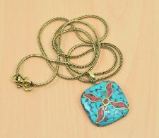 925 TIBETAN SILVER TURQUOISE,CORAL CLASSIC PENDANT & BRASS CHAIN JEWELRY V03758