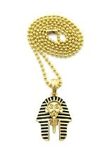 "NEW EGYPTIAN KING-TUT PENDANT &2mm/24"" BALL CHAIN HIP HOP NECKLACE - XGP10BC"