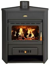 Wood Burning Stove with Boiler Corner Model Solid Fuel Fireplace Prity AM W12