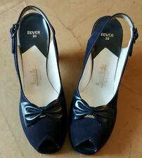 Vintage 1940's FRENCH BOOTERY Dover 18 Slingback High Heels Black Bow Accent EUC