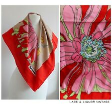 RETRO vtg 1960s JACQMAR GRAPHIC FLORAL PRINT MOD 70s RED PINK SCARF