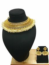 New Indian Ethnic Bollywood Gold Plated Fashion Jewelry Choker Necklace Set