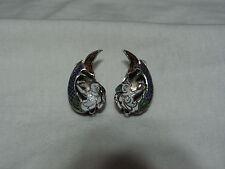 ...Antique Siam Sterling Silver,Enamel Asian Mermaids Clipon Earrings...