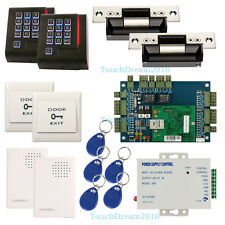 2 Door Entry Access Control Systems Kit & RFID Reader+Strike Lock+Power Supply