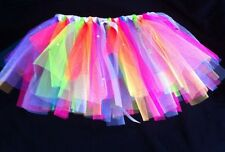 "Girls Kids Flo/Neon Tutu Dance Wear Dress Up Fun Run Age 3-6y 18-22""Waist Multi"