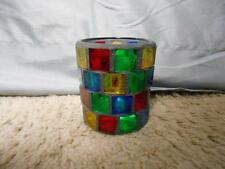 Multi colored stained glass look glass jar candle holder decorative collectible