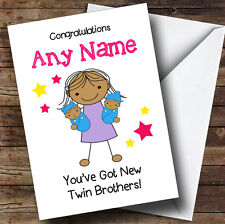 Asian Big Sister New Baby Twin Brothers Boys Personalised Sibling Greetings Card