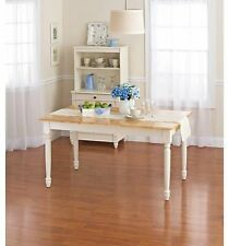 Wood Dining Room Table White Farm House Kitchen Furniture Country Decor Home New