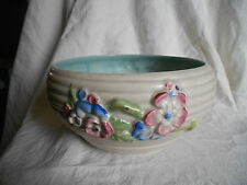 CLARICE CLIFF BOWL with a stem  of flowers.